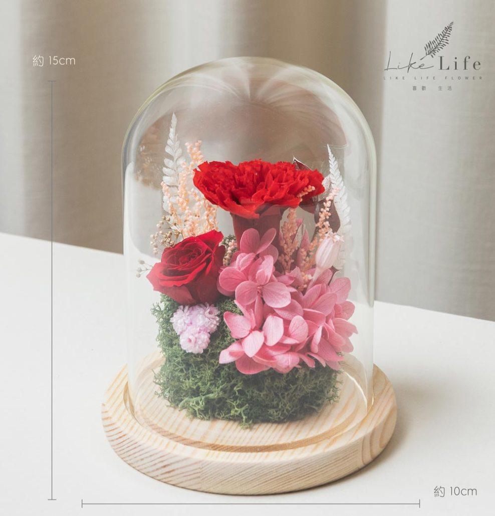 母親節康乃馨花束,紅色永生玫瑰花玻璃罩盆栽,台北康乃馨花束推薦