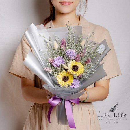 畢業花束台北,向日葵畢業花束,紫色乾燥向日葵花束