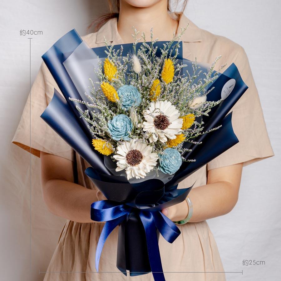 畢業花束,向日葵畢業花束藍色花束,台北畢業花束