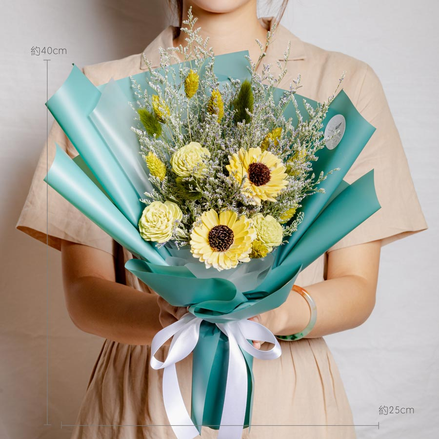 畢業花束推薦,向日葵畢業花束綠色,畢業花束推薦,向日葵乾燥花