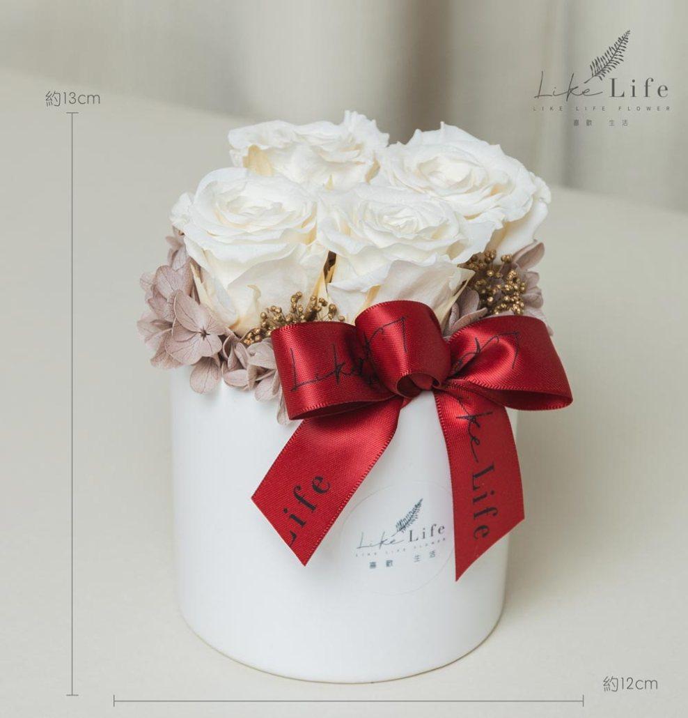情人節白色永生花,白玫瑰永生花盆栽,白色玫瑰花,白玫瑰