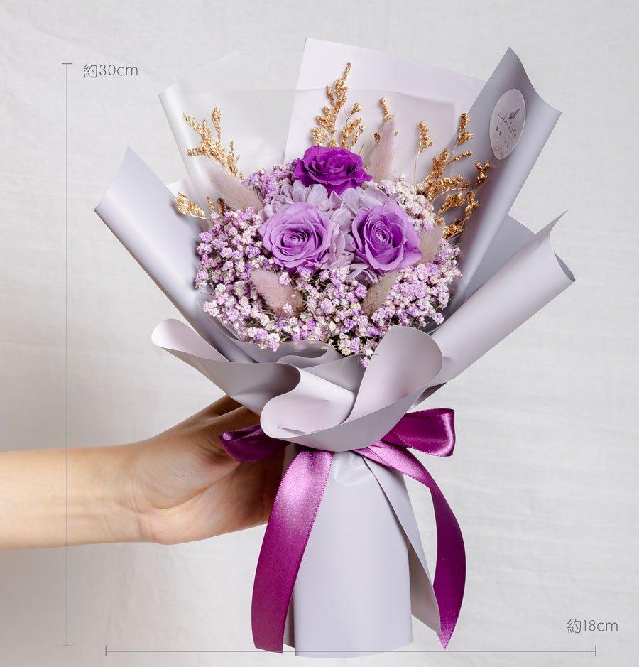 永生花束紫色,情人節花束,紫色永生花束公分,紫色永生花束,台北永生花推薦,喜歡生活乾燥花店