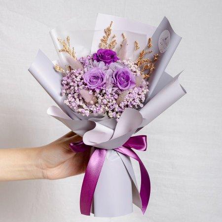 永生花束紫色,情人節花束,紫色永生花束特寫,永生花束紫色,台北乾燥花店,喜歡生活乾燥花店