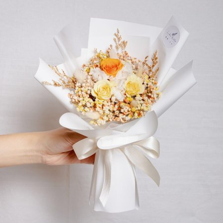 永生花束黃色,情人節永生玫瑰花束黃色,溫光黃永生花束特寫,永生花束黃色特寫,台北永生花束推薦