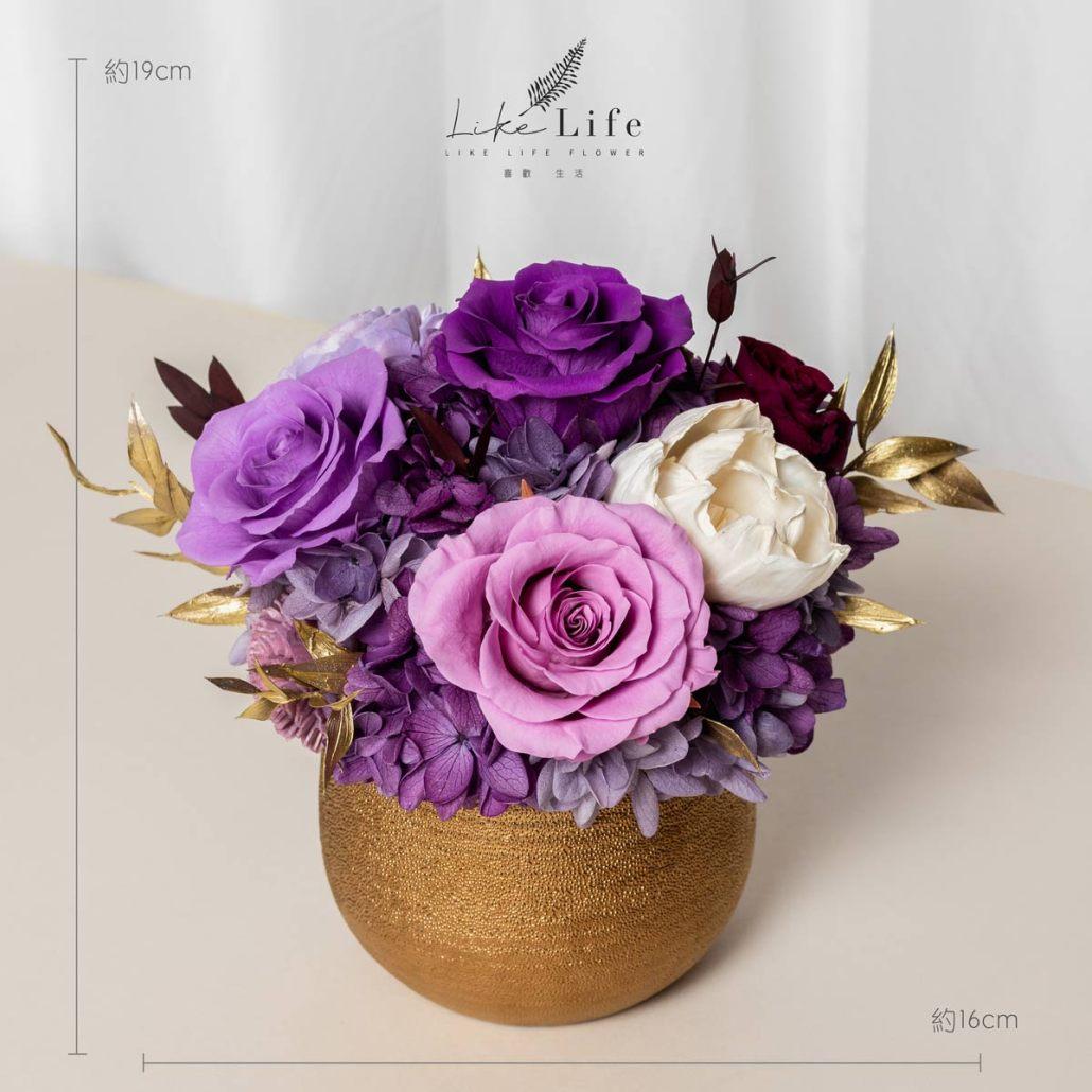 開幕盆栽永生花紫色尺寸照金盆盆栽,金盆永生花盆栽紫色