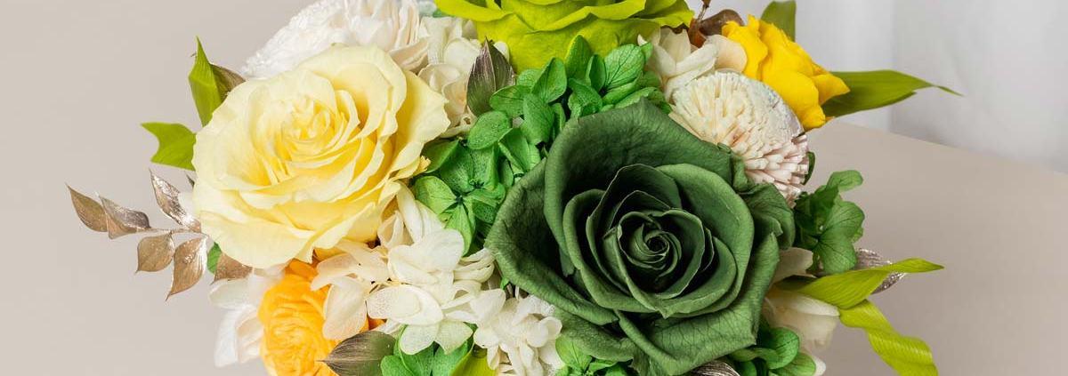 開幕盆栽永生花,銀盆開幕盆栽綠,黃綠色永生花開幕盆栽