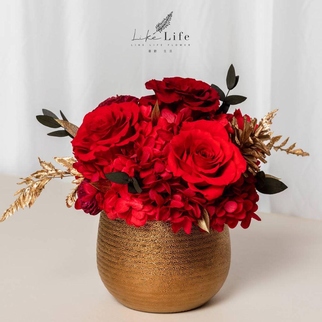 開幕盆栽金紅色介紹紅色永生花,金色永生花盆栽,紅色玫瑰