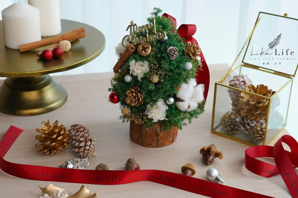 聖誕樹木底封面,喜歡生活乾燥花店