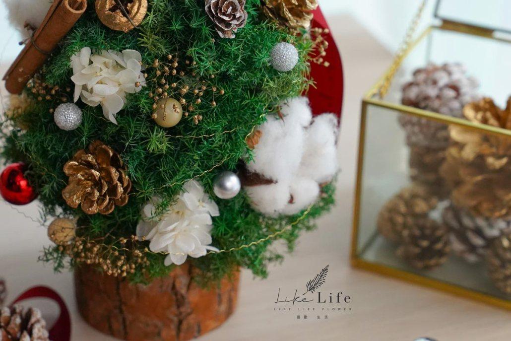 聖誕樹木底特寫,喜歡生活乾燥花店