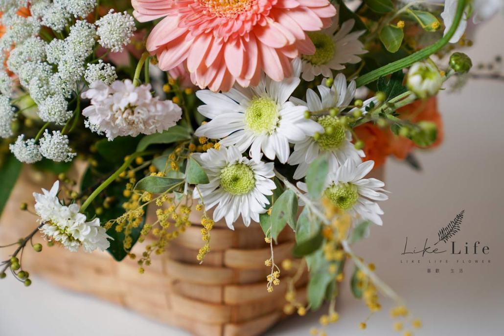 韓系花籃,韓式鮮花盆花,花籃特寫,韓式鮮花教學