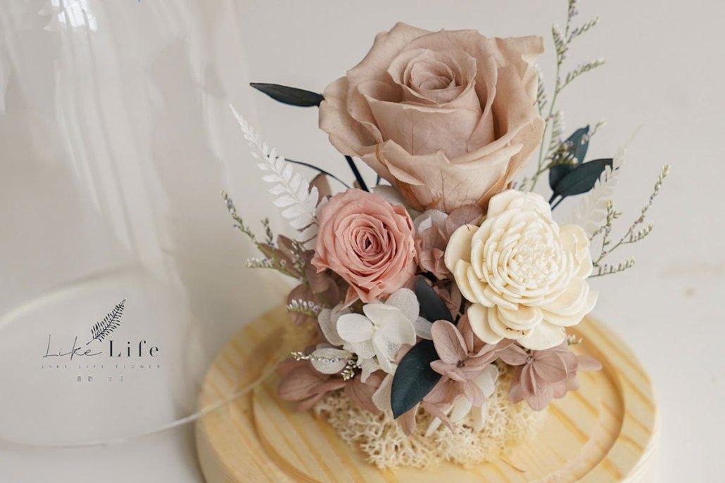 永生花玻璃罩材料包,特寫奶茶玫瑰花
