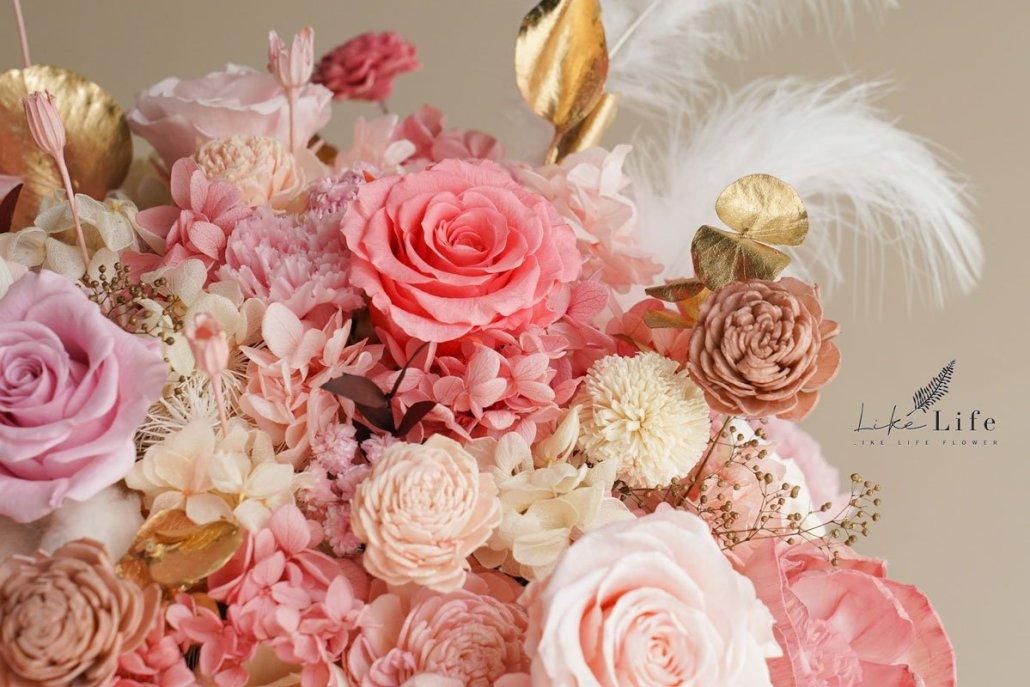 永生花盆栽粉色-特寫2,永生花開幕盆栽特寫
