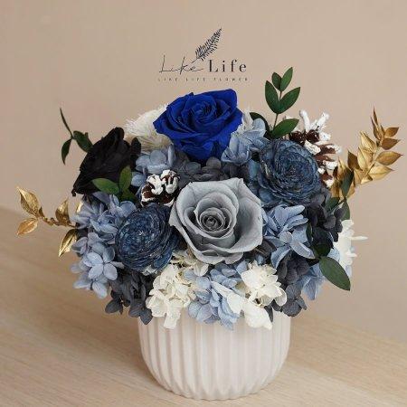 永生花盆栽-古典藍色永生花封面,永生花開幕盆栽