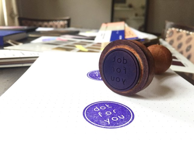 purple-stamp-on-dotted-paper