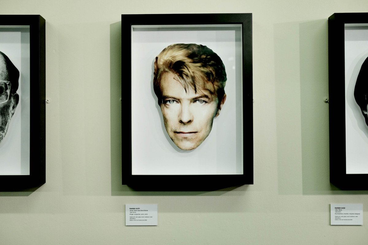David Bowie mask Exhibit A Heroes and Villains, an Exhibition by Hugh Tisdale and Dan Murrell David Bowie