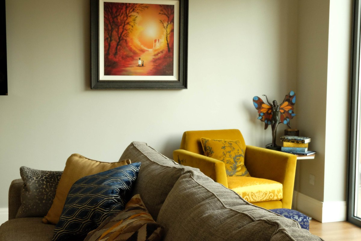 Creating the perfect Reading Corner with a Mustard and Blue Theme.