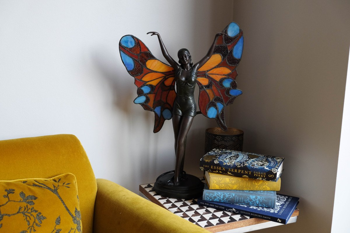 Creating the perfect Reading Corner with a Mustard and Blue Theme. books art deco fairy lamp
