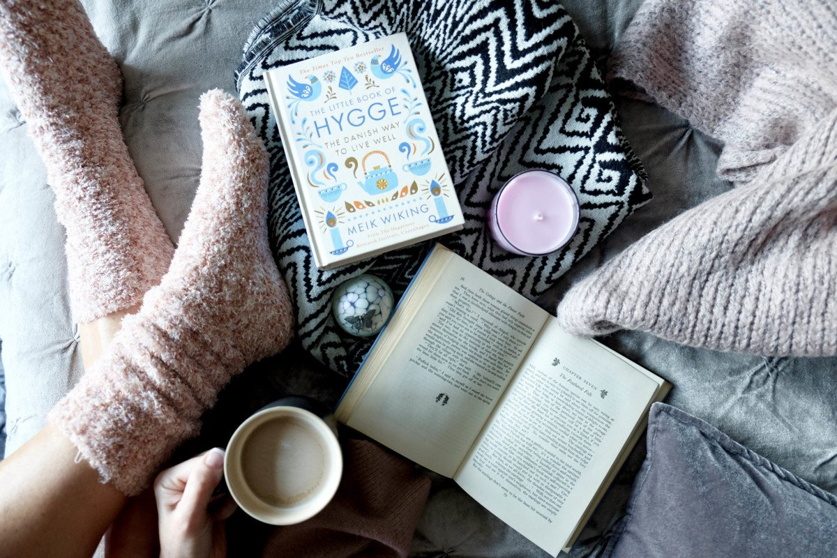 The Hygge Experiment. cosy socks hygge book and coffee
