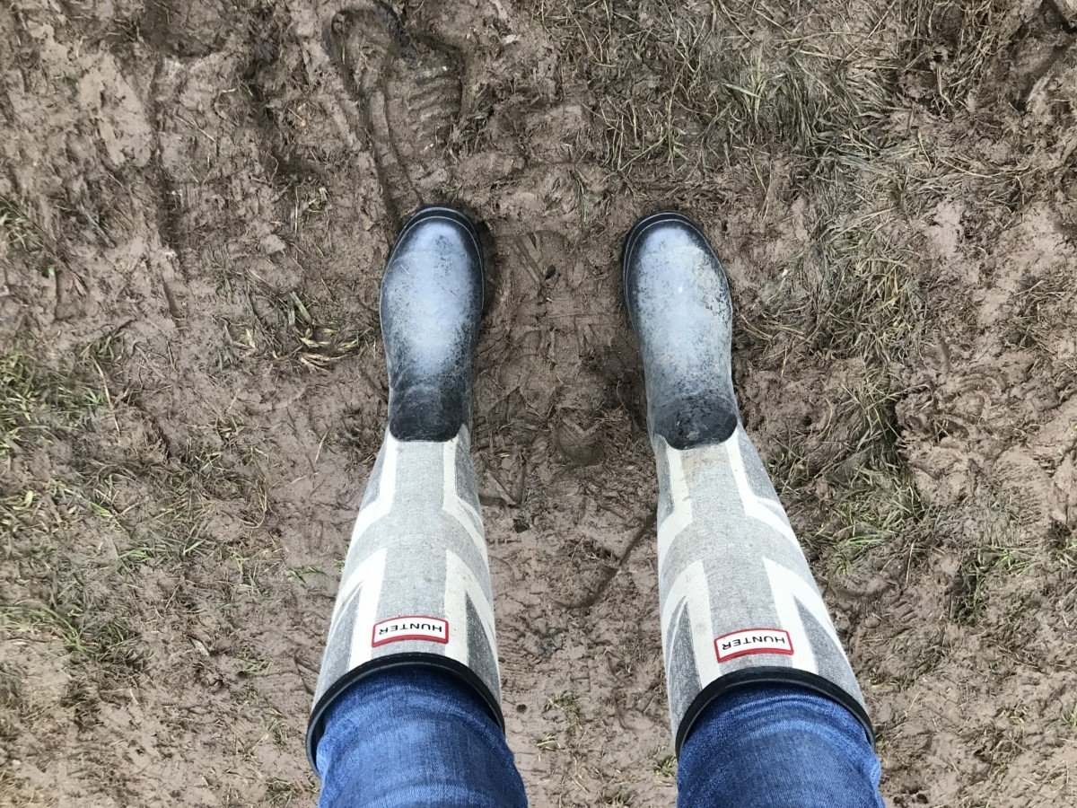 Hunter wellies in mud at festival