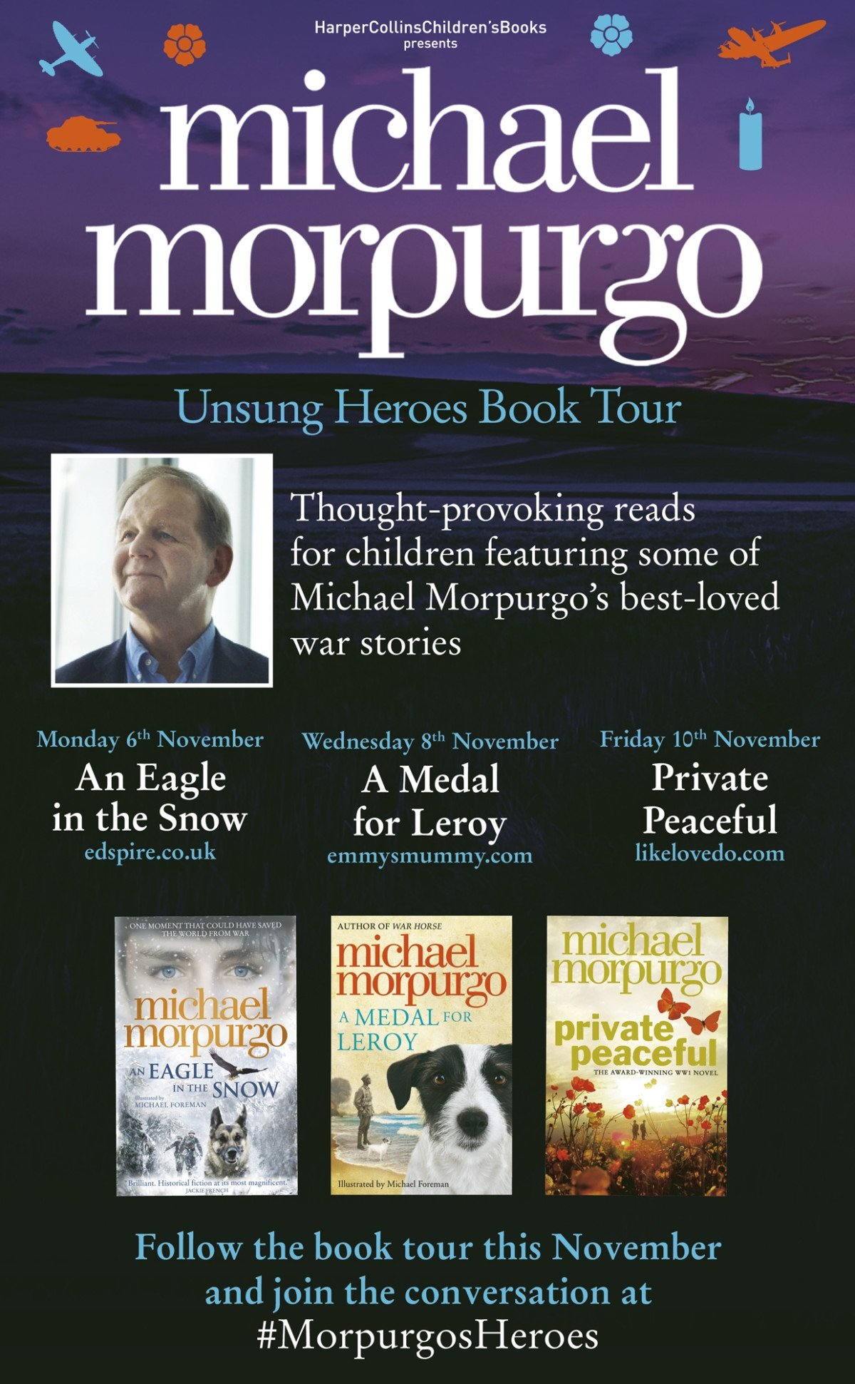 Michael Morpurgo and Private Peaceful Unsung Heroes Book Tour