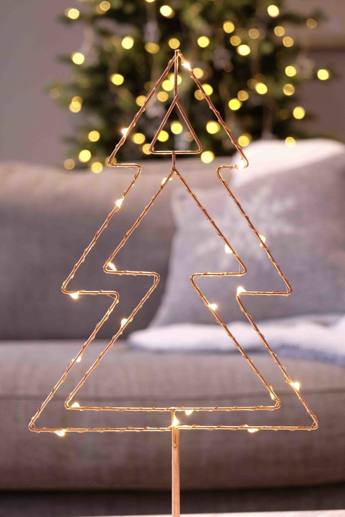 Cox and Cox contemporary Christmas decorating rose gold wire tree