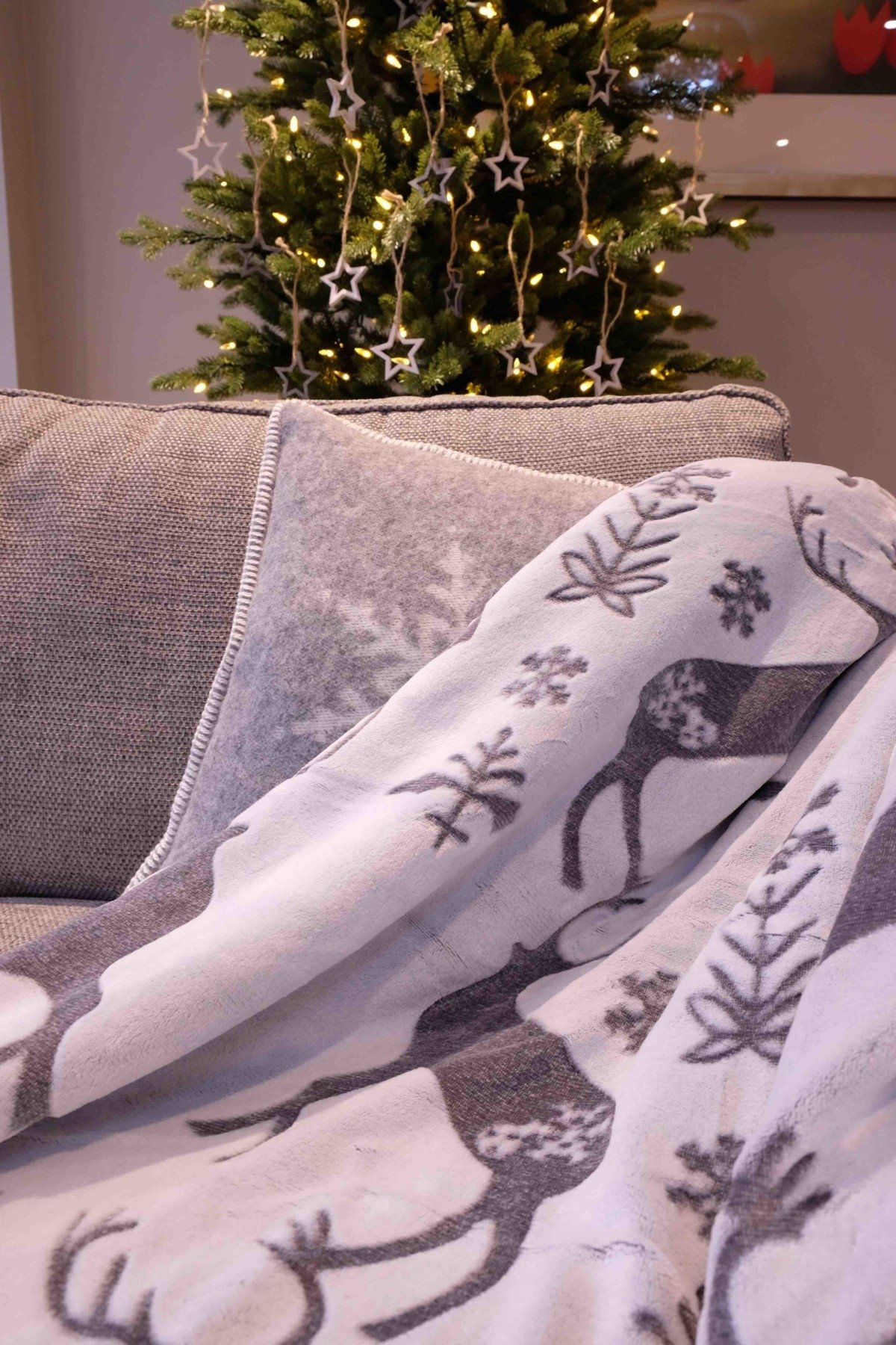 Cox and Cox contemporary Christmas decorating stag reindeer blanket fleece