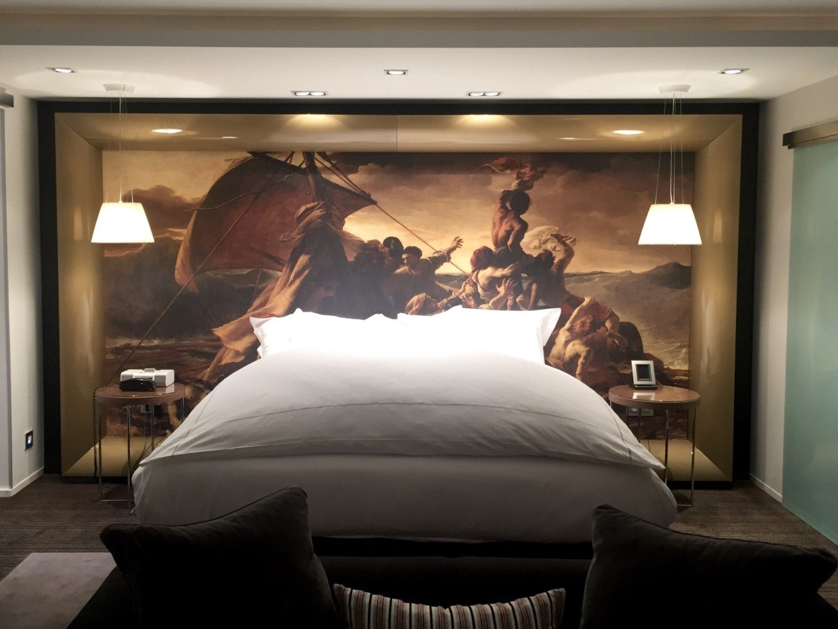 The Raft of the Medusa by Theodore Géricault behind the bed in the L'Assiette Champenoise