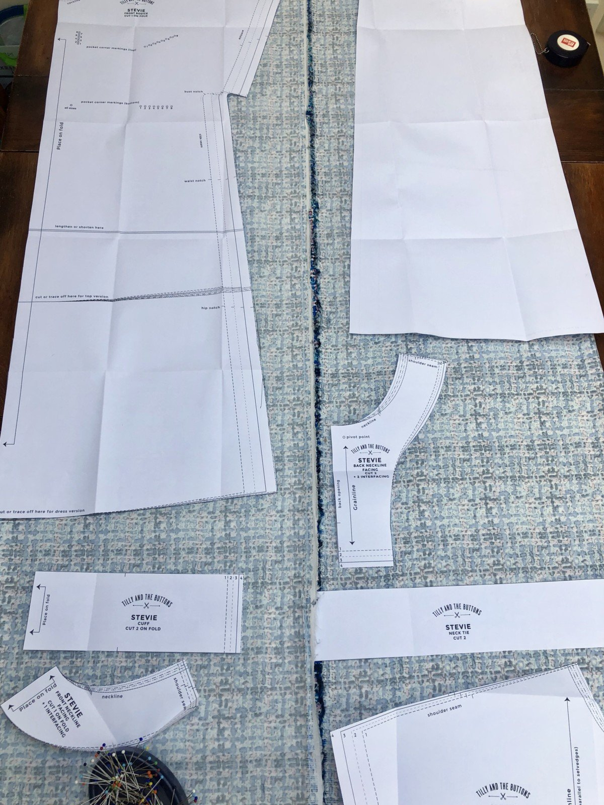 Sewing a stevie dress for beginners, The first rule of thumb is to check, check and check again before you cut! The Tilly and the Buttons instruction book tells you how to arrange your fabric how to lay out your pattern so that it fits.