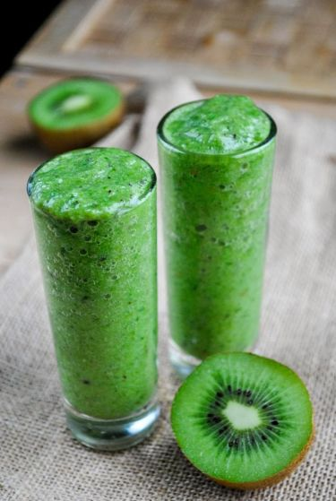 This one features the cutest green fruit: the kiwi! Does anyone really need an excuse to go for this fruit? Ingredients: Cucumber, banana, kiwi, spinach http://www.vegansandra.com/2014/02/refreshing-green-kiwi-smoothie.html