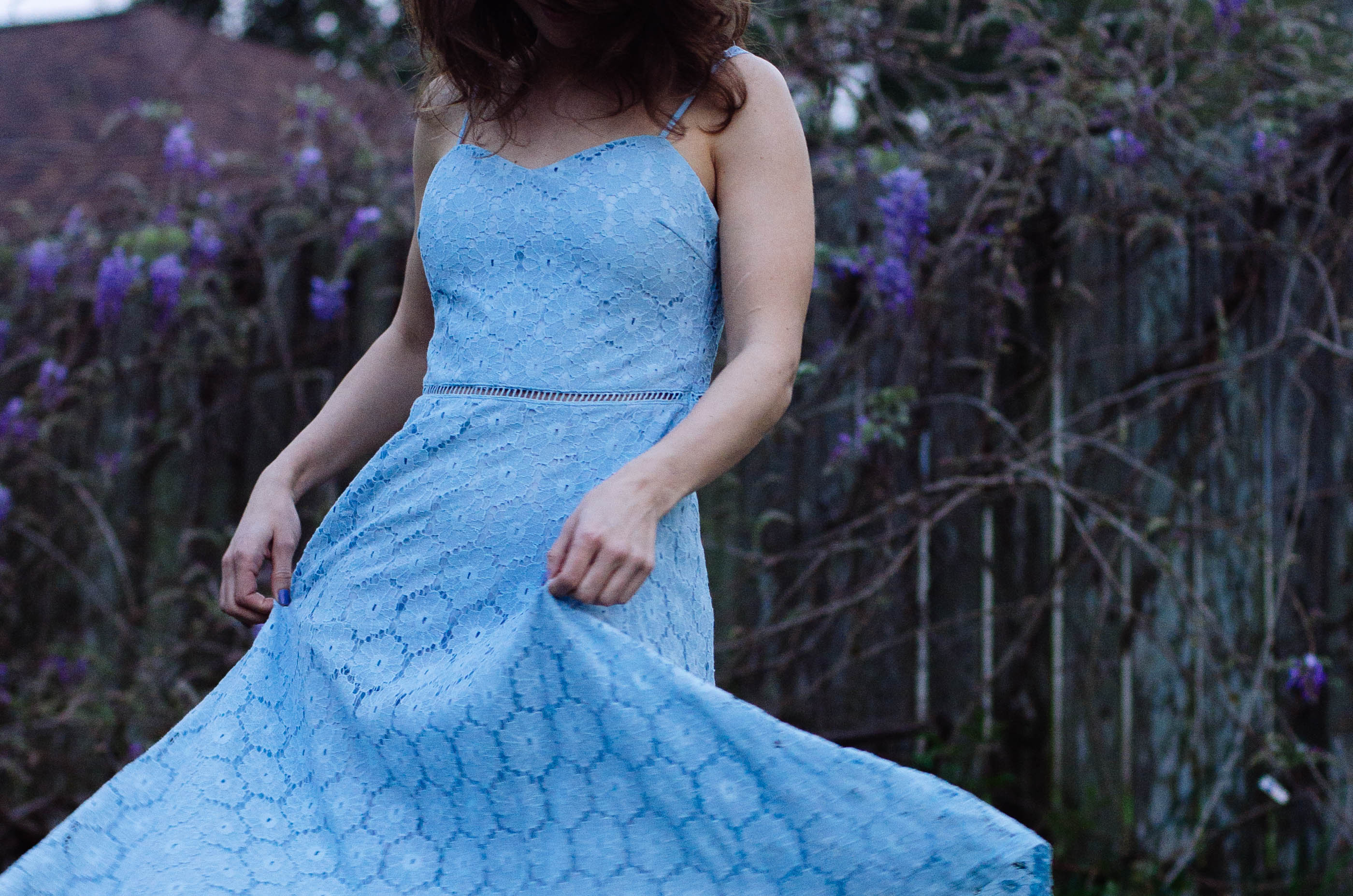spring blue lace dress