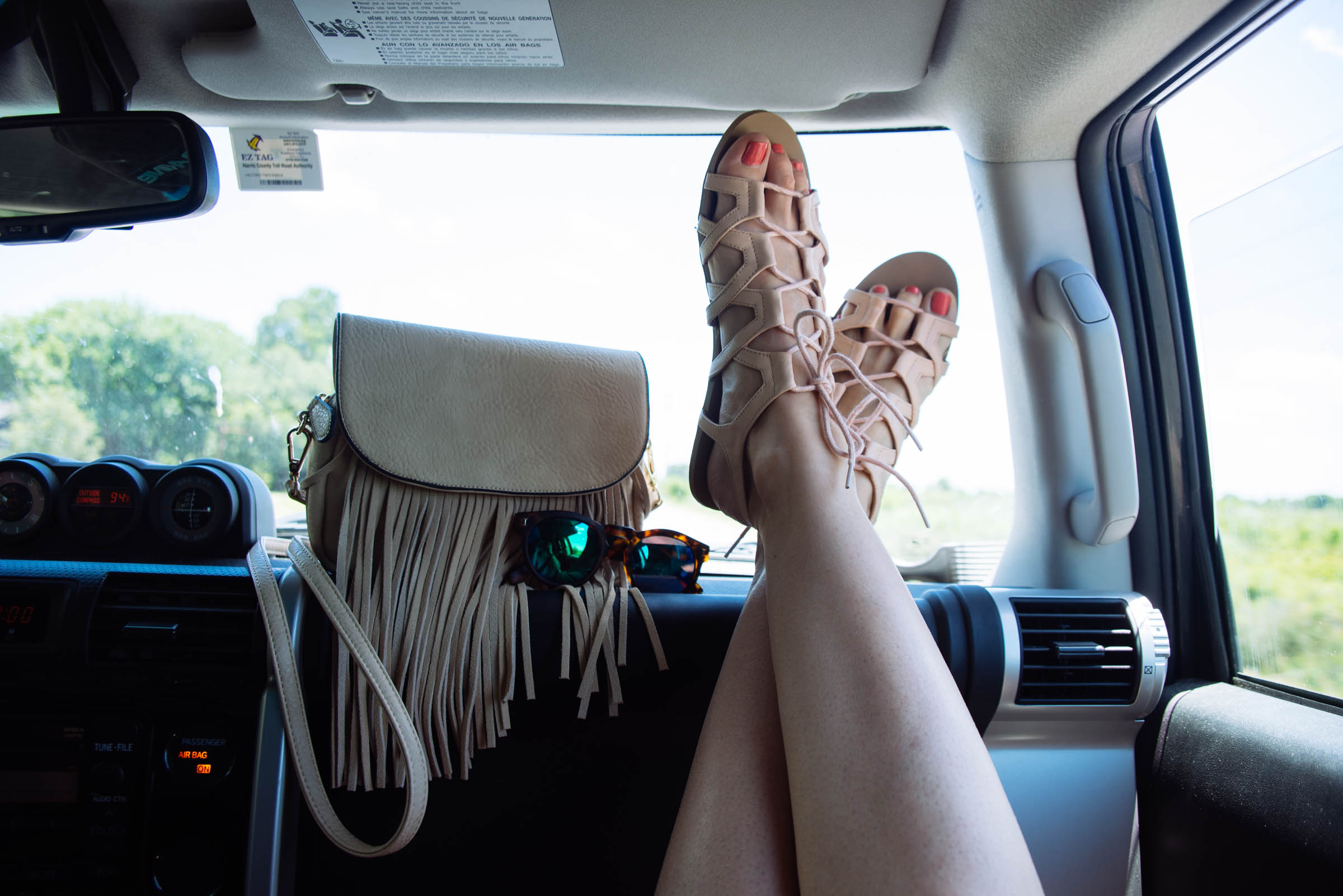 shoes and fringe purse