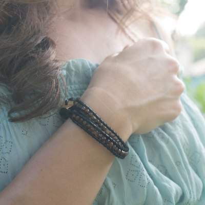 diy double wrap leather beaded bracelet
