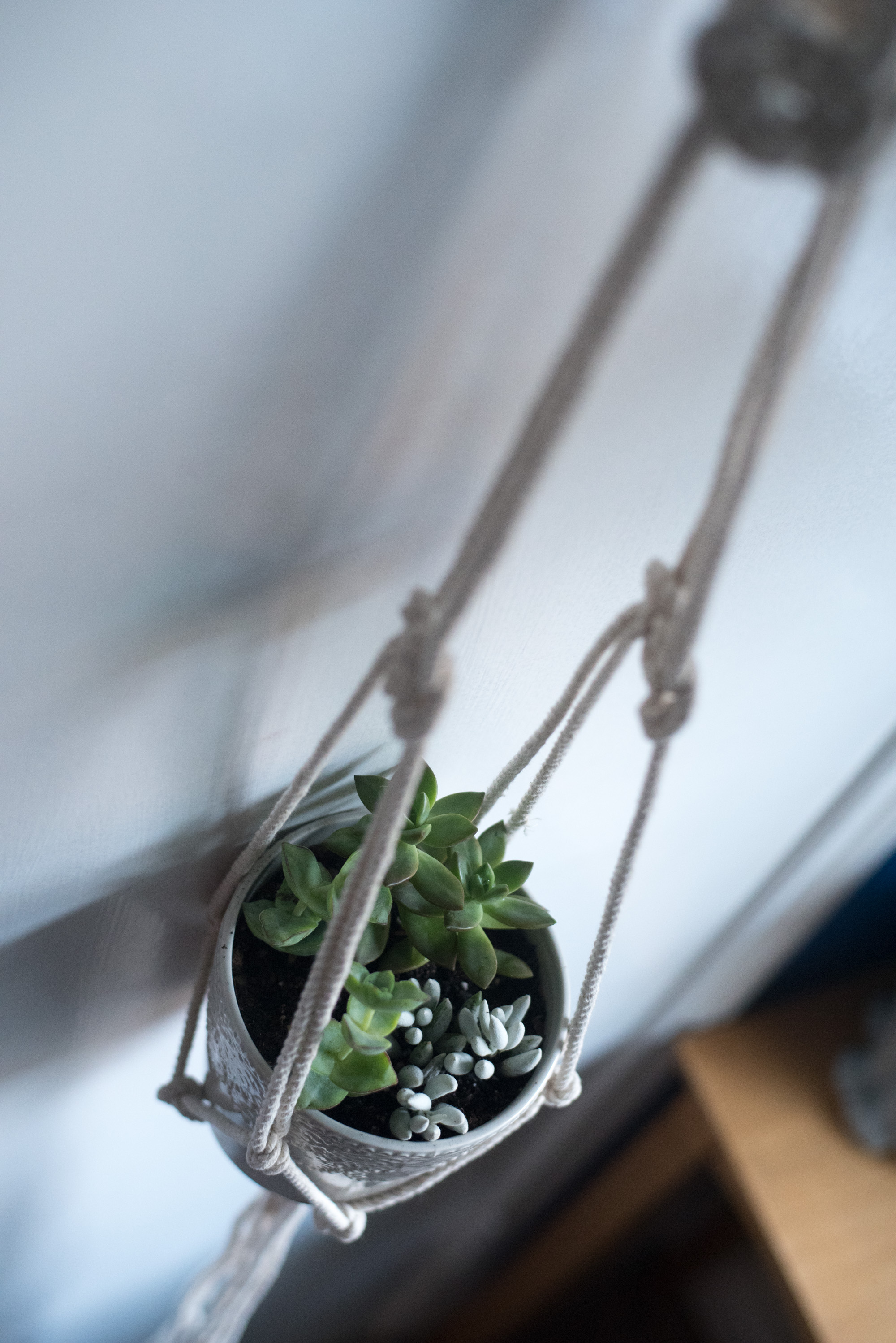macrame planter making