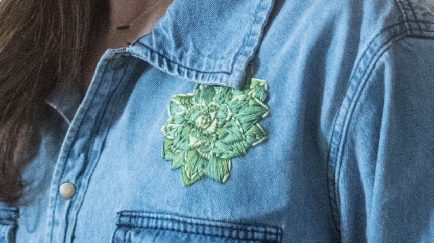 diy hand embroidered denim shirt