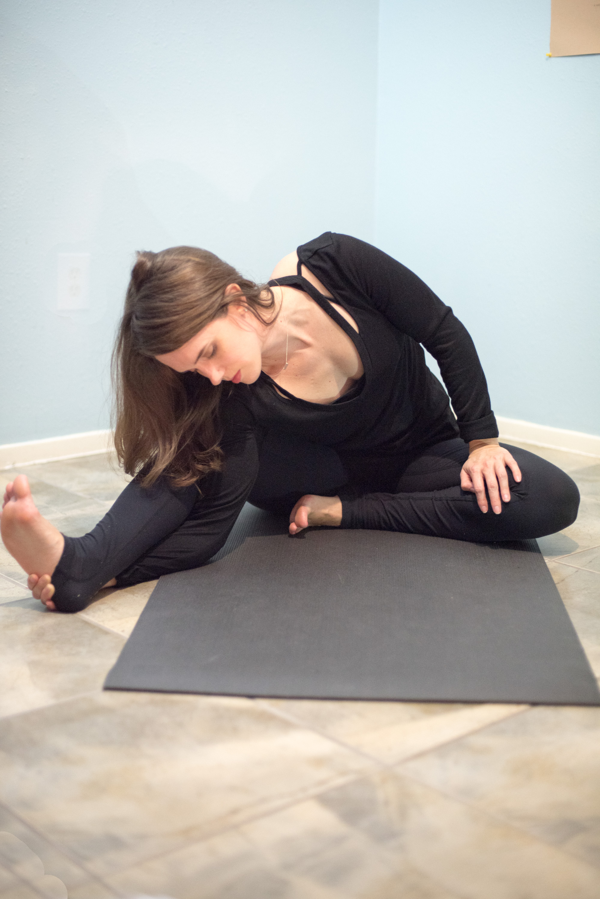 yoga seated wide leg twist
