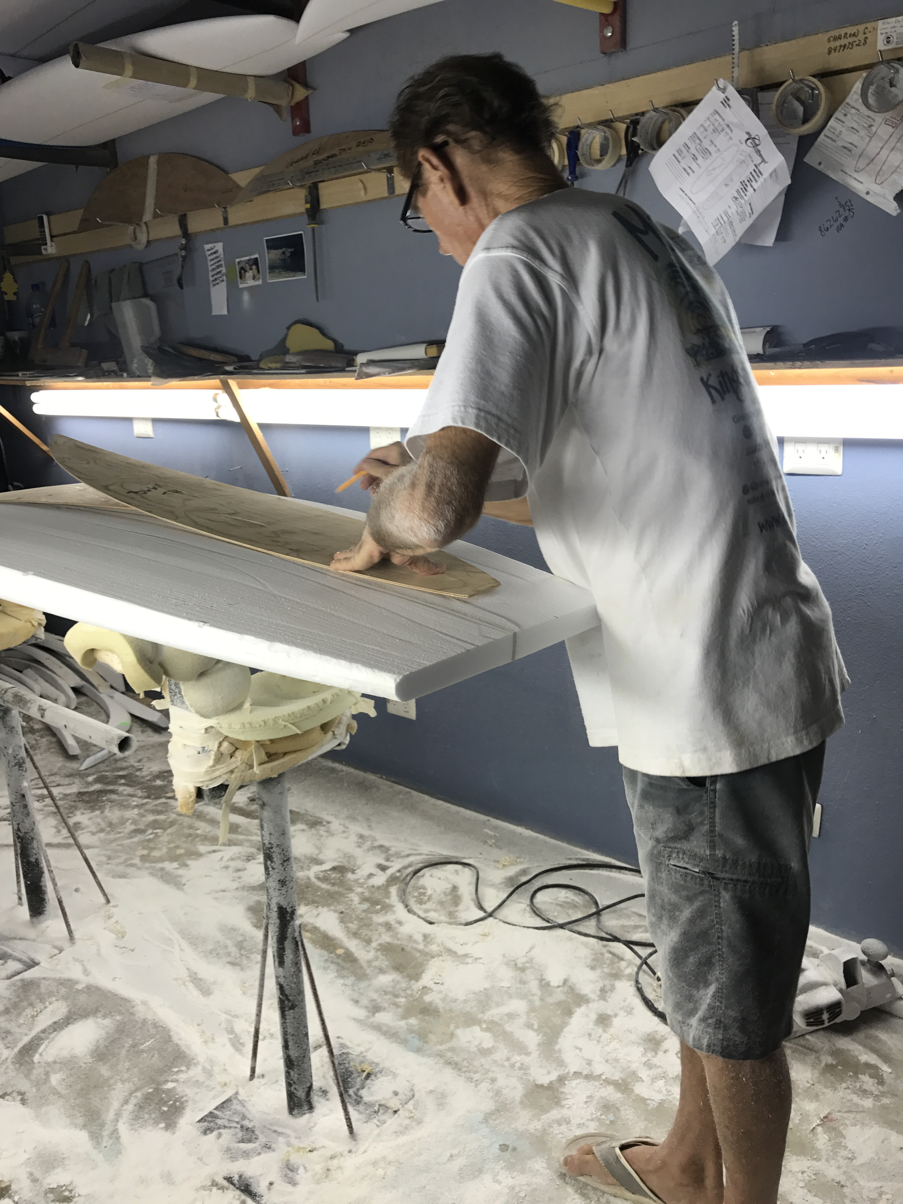 shaping surfboard tail
