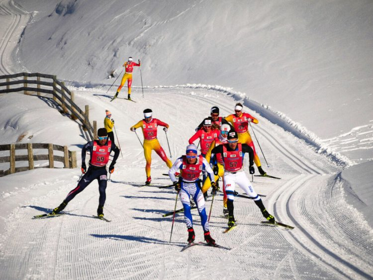 Cross country ski race, The Merino Muster. At The Snow Farm cross country skiing area, Cardrona Valley, New Zealand.