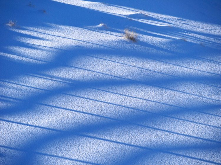 Patterns on the snow at The Snow Farm cross country skiing area, Cardrona Valley, New Zealand