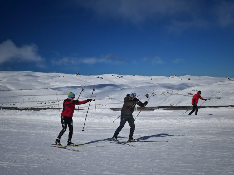 Cross country skier having a lesson at the Snow Farm, Cardrona, New Zealand