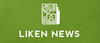 """green background with white outline of a newspaper and white text reading """"liken news"""""""