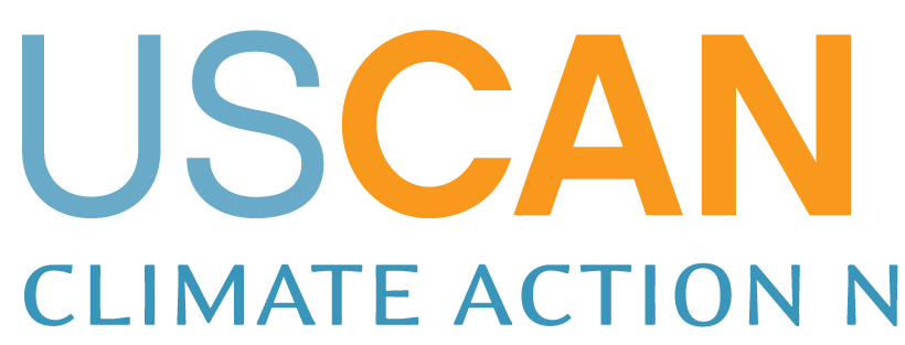"USCAN logo with orange and blue text reading ""USCAN climate action network"""