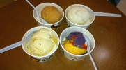 From left to right, clockwise: Guyabano, Sapin-Sapin, Mango Sansrival, and Santol ice creams