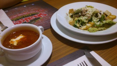 Caesar Salad, Php 150.00; Hearty Italian Soup, Php 75.00