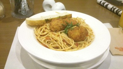 Christian's Spaghetti with Spinach and Cheese Tofu Balls in Creamy Tomato Sauce, Php 195.00