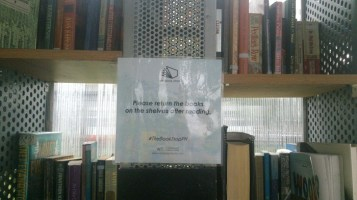 """Please return the books on the shelves after reading."""