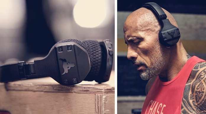 the rock wearing his headphones