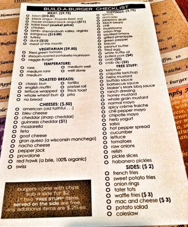 Burger Checklist