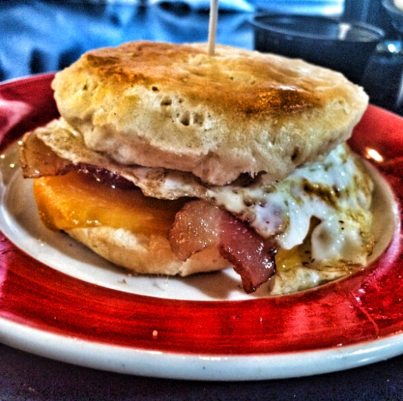 Bacon Egg and Cheese on a Biscuit