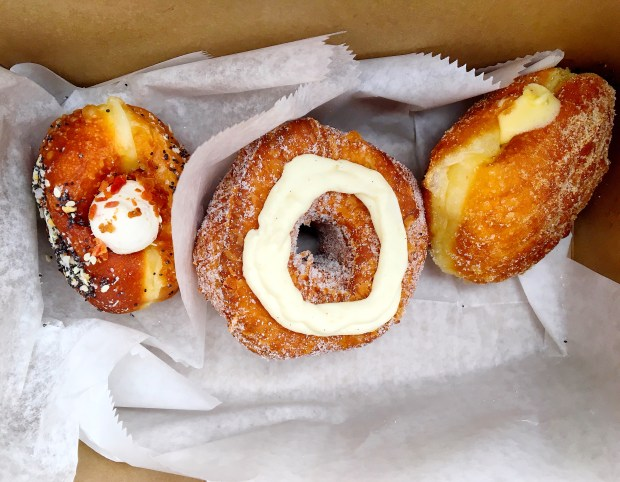 Everything Bagel Doughnut Filled with Cream Cheese and Bacon, Vanilla Bean Doughssant, and Lemon Curd Filled Doughnut