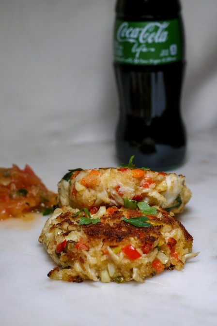 Charred Corn Crab Cakes with Watermelon Rind Slaw